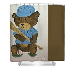 Shower Curtain featuring the painting Benny Bear Baseball by Tamir Barkan