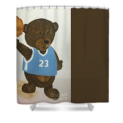 Shower Curtain featuring the painting Benny Bear Basketball  by Tamir Barkan
