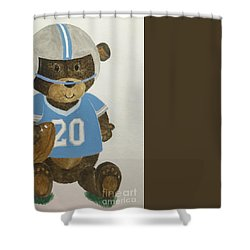 Shower Curtain featuring the painting Benny Bear Football by Tamir Barkan