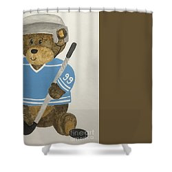 Shower Curtain featuring the painting Benny Bear Hockey by Tamir Barkan