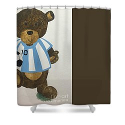 Shower Curtain featuring the painting Benny Bear Soccer by Tamir Barkan