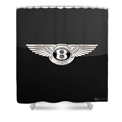 Bentley - 3 D Badge On Black Shower Curtain by Serge Averbukh