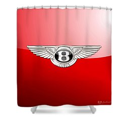 Bentley 3 D Badge On Red Shower Curtain by Serge Averbukh