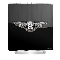 Bentley - 3d Badge On Black Shower Curtain by Serge Averbukh