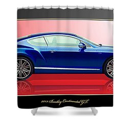 Bentley Continental Gt With 3d Badge Shower Curtain