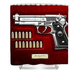 Beretta 92fs Inox Over Red Velvet Shower Curtain