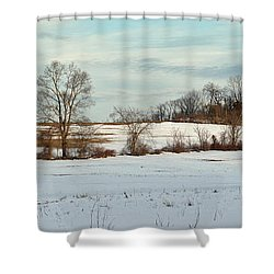 Berkshire Meadow - Winter Panoramic Shower Curtain