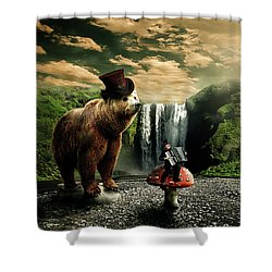 Shower Curtain featuring the digital art Berlin Bear by Nathan Wright