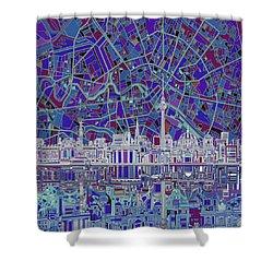 Berlin City Skyline Abstract 3 Shower Curtain by Bekim Art