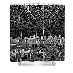 Berlin City Skyline Abstract 4 Shower Curtain by Bekim Art