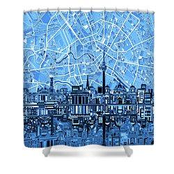 Berlin City Skyline Abstract Blue Shower Curtain by Bekim Art