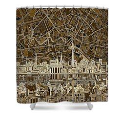 Berlin City Skyline Abstract Brown Shower Curtain by Bekim Art