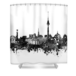 Berlin City Skyline Black And White Shower Curtain by Bekim Art