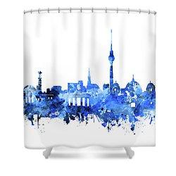 Berlin City Skyline Blue Shower Curtain by Bekim Art