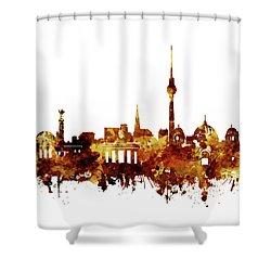 Berlin City Skyline Brown Shower Curtain by Bekim Art