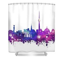 Berlin City Skyline Galaxy Shower Curtain by Bekim Art
