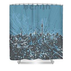 Berlin City Skyline Map 3 Shower Curtain by Bekim Art
