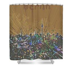 Berlin City Skyline Map 4 Shower Curtain by Bekim Art