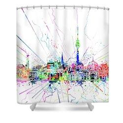 Berlin City Skyline Watercolor 2 Shower Curtain by Bekim Art