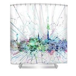 Berlin City Skyline Watercolor 3 Shower Curtain by Bekim Art