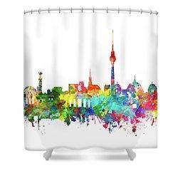 Berlin City Skyline Watercolor Shower Curtain by Bekim Art