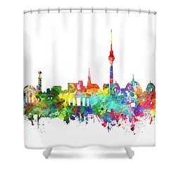 Berlin City Skyline Watercolor Shower Curtain