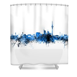 Berlin Germany Skyline Blue Signed Shower Curtain