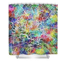 Berlin Map Watercolor Shower Curtain by Bekim Art