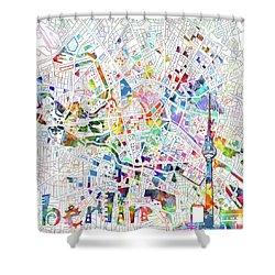 Berlin Map White Shower Curtain by Bekim Art