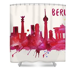 Berlin Skyline Watercolor Poster - Cityscape Painting Artwork Shower Curtain