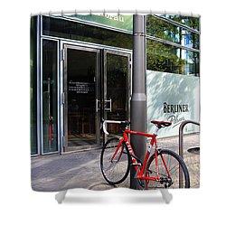 Berlin Street View With Red Bike Shower Curtain by Ben and Raisa Gertsberg
