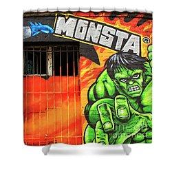 Berlin Wall Monsta Door Shower Curtain by John Rizzuto