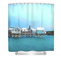 Bermuda Coastal Cabins Shower Curtain by Luther Fine Art