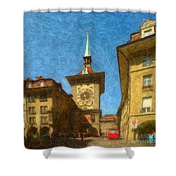 Bern Clock Tower Shower Curtain