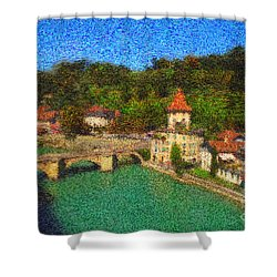 Bern On River Aare Shower Curtain by Gerhardt Isringhaus