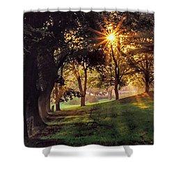 Bernharts Dam Fog 001 Shower Curtain