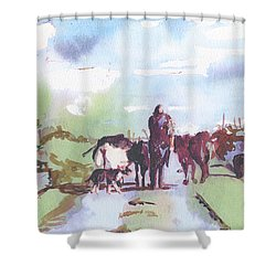 Bernie On The Road Shower Curtain