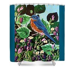 Berry Bluebird Shower Curtain