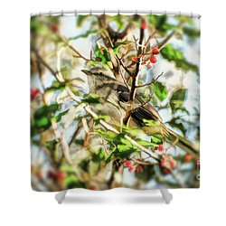Shower Curtain featuring the photograph Berry Merry Mockingbird by Kerri Farley
