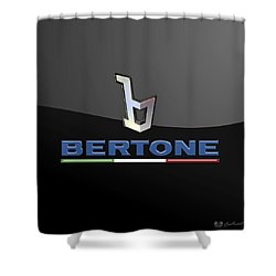 Bertone - 3 D Badge On Black Shower Curtain