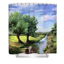 Beside The Creek - Original Rural Landscape  Shower Curtain