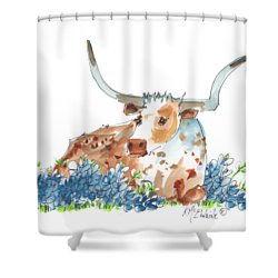 Bessie In The Bluebonnets Watercolor Painting By Kmcelwaine Shower Curtain by Kathleen McElwaine