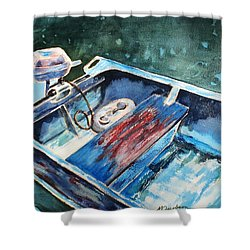 Best Fishing Buddy Shower Curtain by Marilyn Jacobson