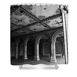 Bethesda Terrace Arcade In Central Park - Bw Shower Curtain