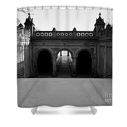 Bethesda Terrace In Central Park - Bw Shower Curtain
