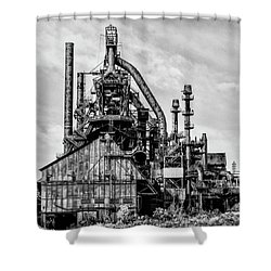 Bethlehem Pa Steel Plant  Side View In Black And White Shower Curtain by Bill Cannon