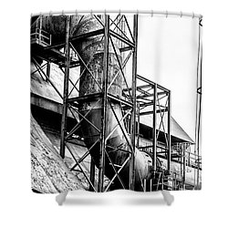 Bethlehem Steel - Black And White Industrial Shower Curtain by Bill Cannon