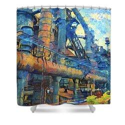 Bethlehem Steel Mill Watercolor Shower Curtain by Bill Cannon