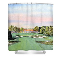 Shower Curtain featuring the painting Bethpage State Park Golf Course 18th Hole by Bill Holkham
