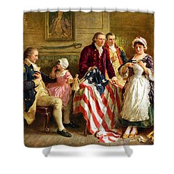 Betsy Ross And General George Washington Shower Curtain